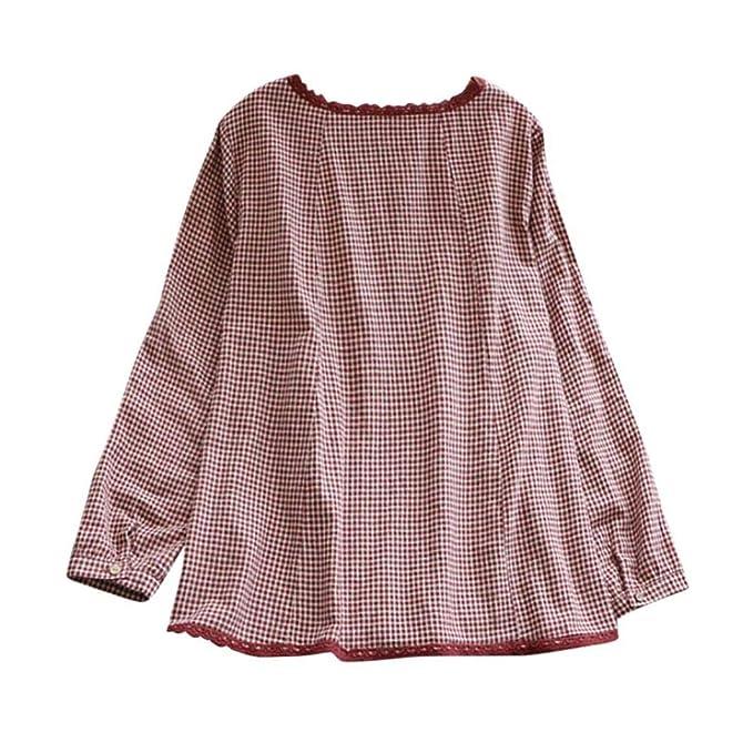 Blusas para Mujer PANY Impresión de Enrejado Manga Larga Suelta Blusa Camisa Casual Cuello Redondo