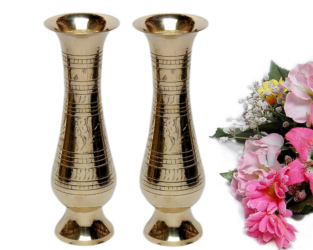 201 & MA DESIGN HUT Brass Flower Vase Showpiece for Home Decor (Yellow) - 2 Pieces Set