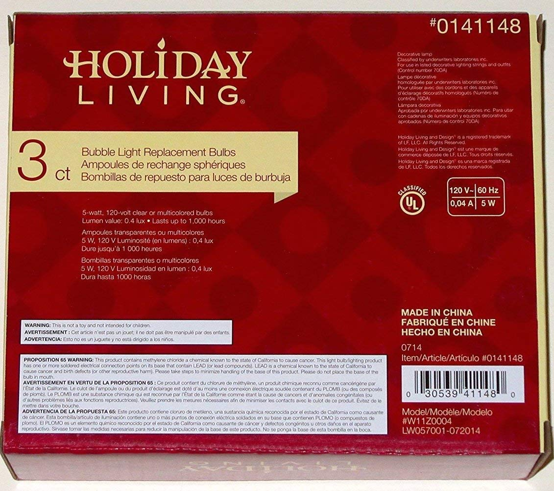 Amazon.com: Holiday Living Bubble Light Replacement Bulbs 3-Pack Clear White C7 by Holiday Living: Home & Kitchen