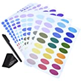 Mudder Essential Oil Bottle Stickers Labels Oval-shaped and Round Stickers Labels with Marker Pen, 8 Sheet of 772 Labels
