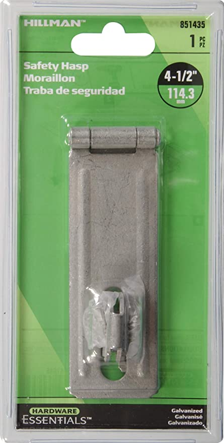 Amazon.com: The Hillman Group 851435 4-1/2-Inch Fixed Staple Safety Hasps, Galvanized Finish: Home Improvement