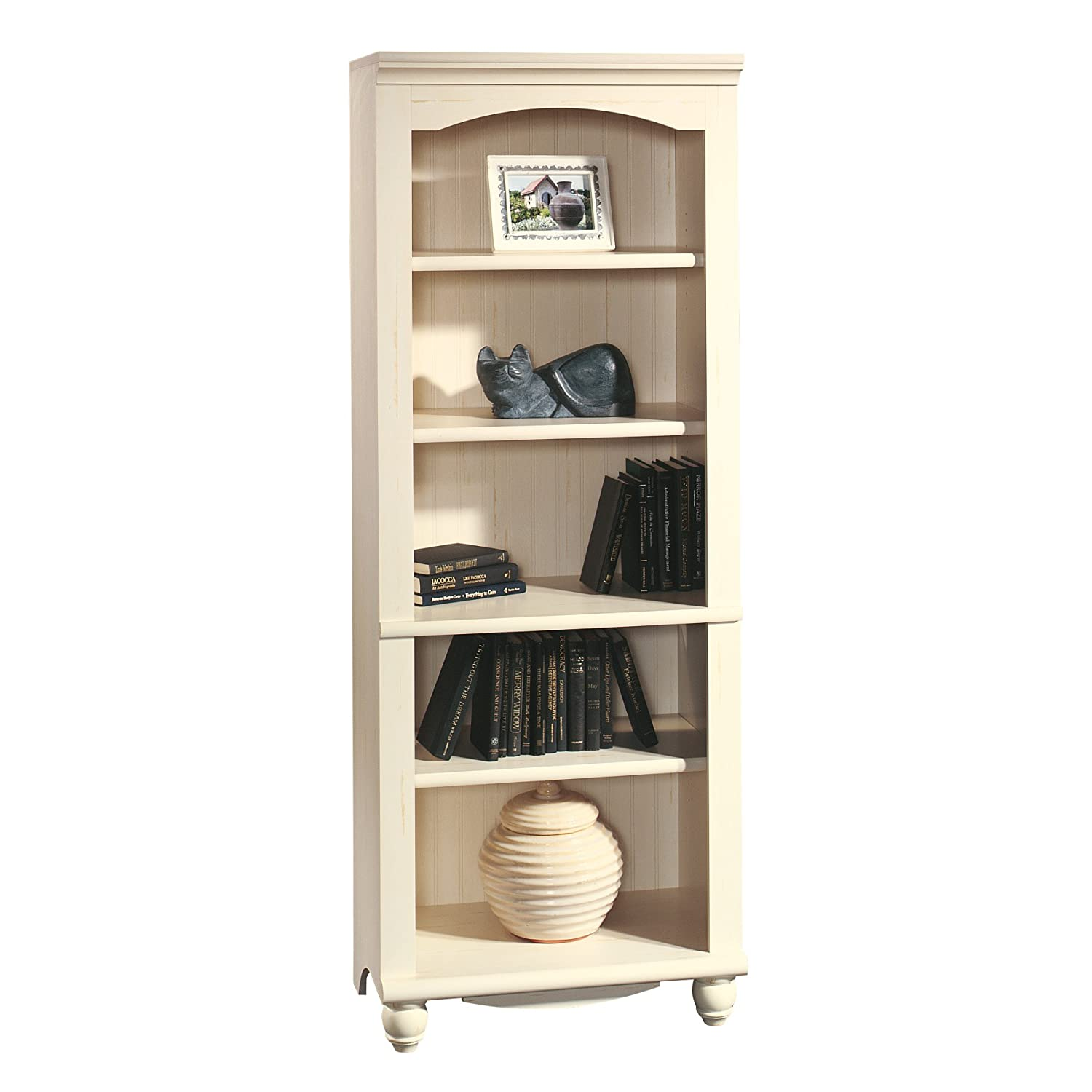 Amazon.com: Sauder Harbor View Library, Antiqued White: Kitchen ...