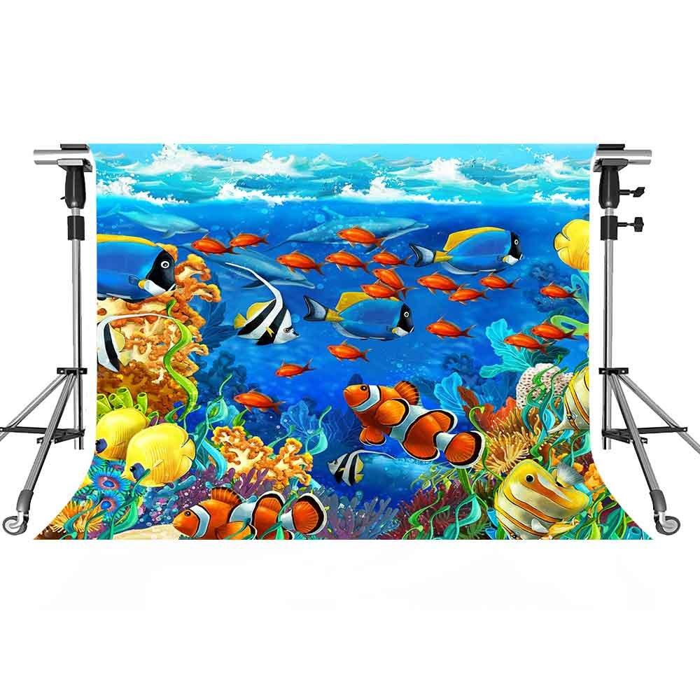 UnderwaterバックドロップColored魚写真背景meetsioy 7 x 5ftテーマパーティー写真ブースYoutube Backdrop pmt367   B07FTC68JG