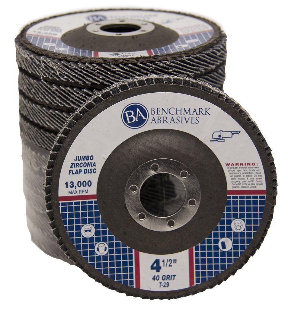 4.5'' x 7/8'' Premium High Density Jumbo Zirconia Type 29 Flap Disc 40 Grit - 10 Pack by Benchmark Abrasives (Image #1)