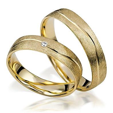 alianzas Oro 333 Par de precio - neumode rnetrau anillos s 151 de oro amarillo de 8 quilates en eismatt con diamantes TW/SI: Amazon.es: Joyería