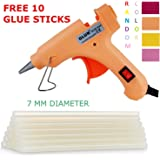 20W 20 WATT 7MM HOT MELT Glue Gun with ON Off Switch and LED Indicator (Free 10 Transparent Glue Sticks)