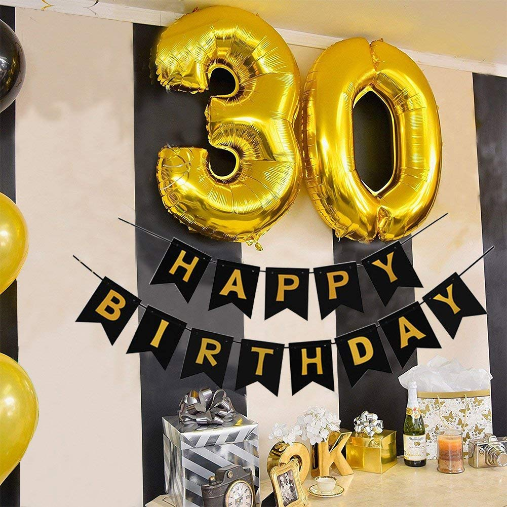 Toupons 30th Birthday Party Decorations Kit Gold Number 30 Ballon 30pcs Black Silver And