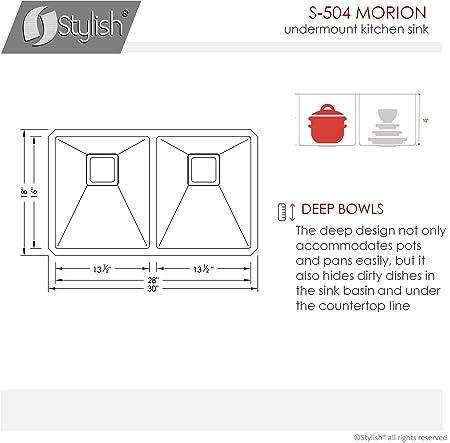 30 pulgadas Undermount 50/50 doble tazón fregadero de cocina ...