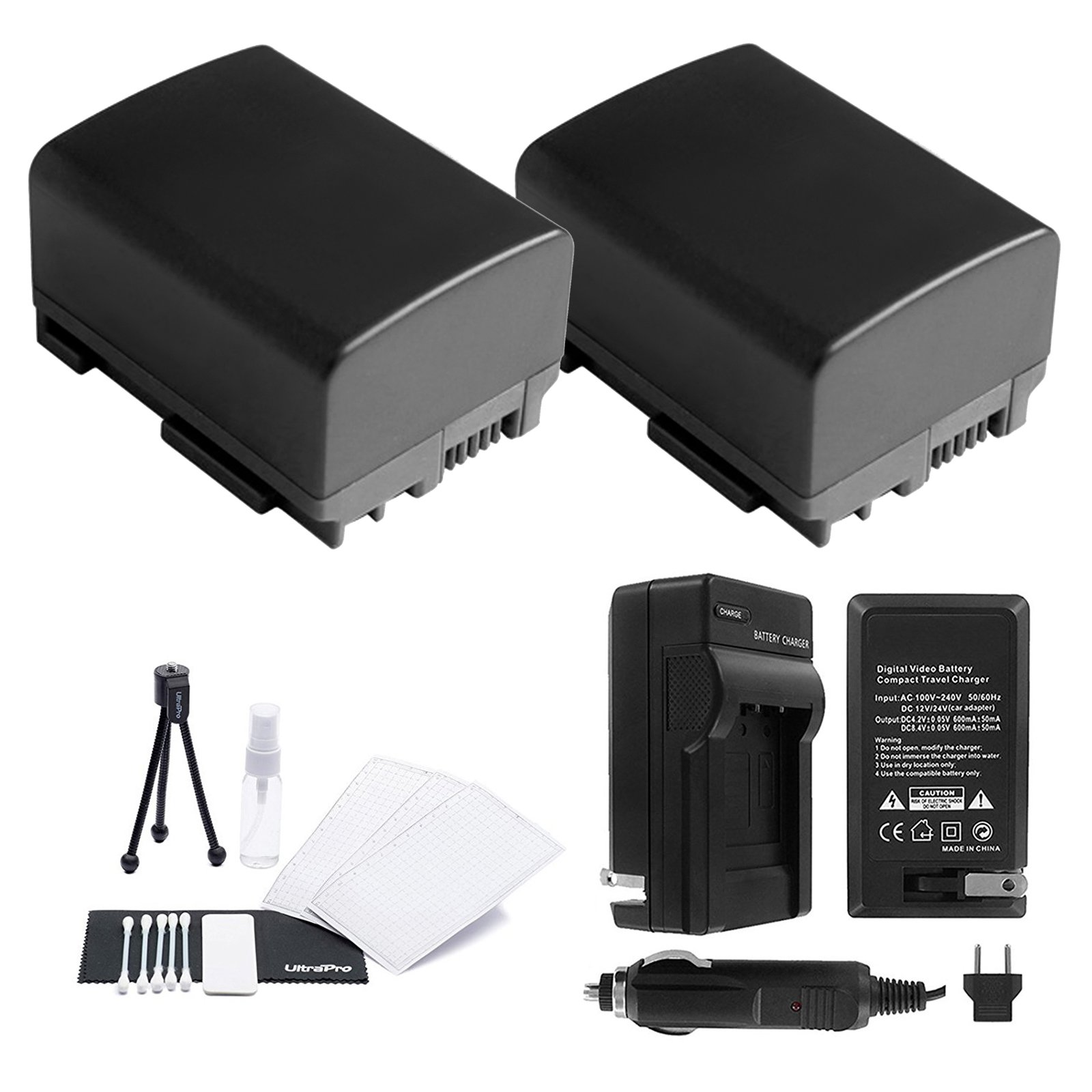 UltraPro BP-808/809 Battery 2-Pack Bundle with Rapid Travel Charger Accessory Kit for Select Canon Cameras Including FS10, FS100, FS11, FS20, FS200, FS21, FS22, FS30, FS300, and FS31 by UltraPro