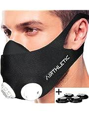 AIRTHLETIC Training Mask Masque de fitness [avec valves blanches et noires] - Masque d'entraînement pour entraînement en altitude simulé - Masque respiratoire sport