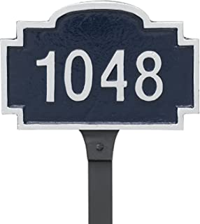 "product image for Montague Metal PCS-0143P1-L-CS Chesterfield Petite Address Sign Plaque with Lawn Stake, 5.25"" x 8.15"", Chocolate/Silver"