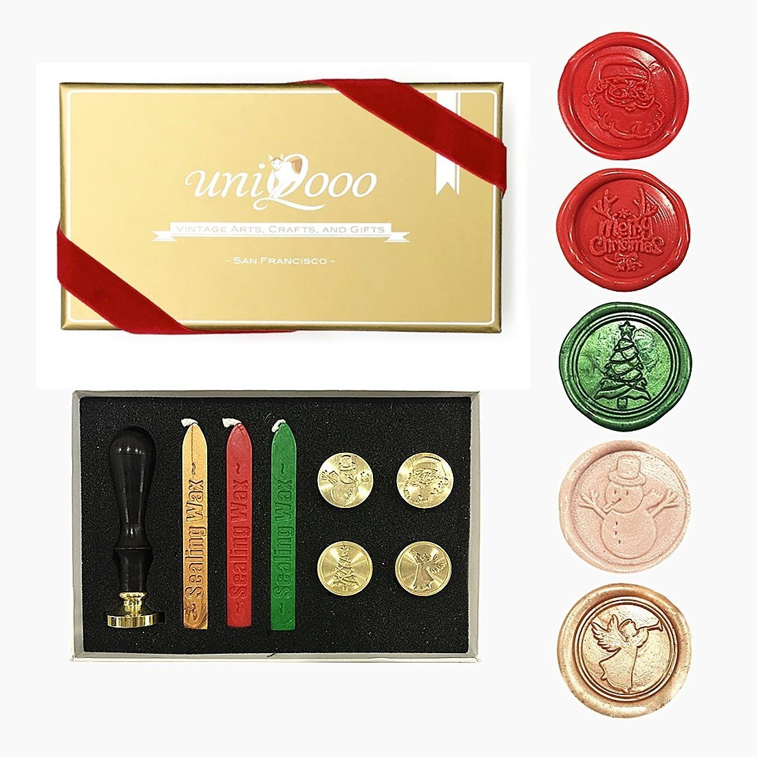 UNIQOOO Arts & Crafts Christmas Wax Seal Stamp Kit, 5 Stamps - Merry Christmas, Santa Claus, Xmas Tree,Snowman, Angel, 3 Wick Wax Sticks-Great for Holiday Decorations, Postcards, Invitations, Gift by UNIQOOO