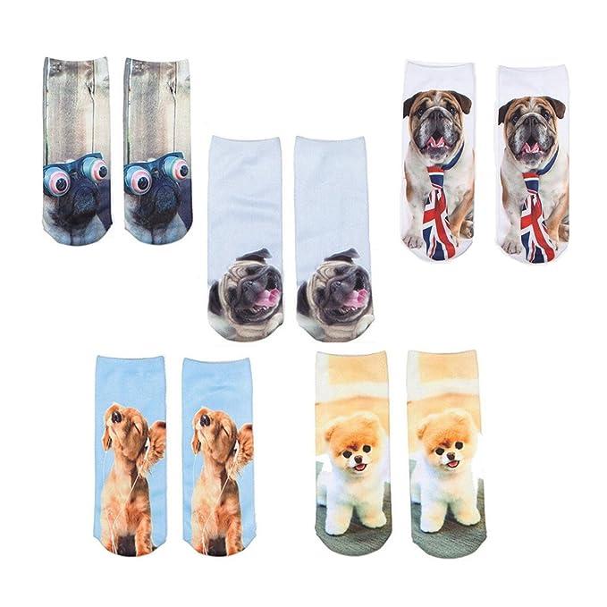 HWHColor impresión de las mujeres divertidas del perro del barro amasado calcetines de regalo de Navidad 5 pares/set: Amazon.es: Ropa y accesorios