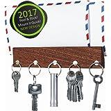 Magnetic Key Holder & Mail Organizer   Premium Walnut Wood   Self Adhesive Key Rack   Magnetic Key Holder for Wall   Letter Holder   Magnetic Key Hook   5 Very Strong Magnets   Innovative Design