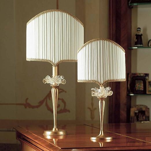 Il PARALUME Marina Murano cristal lámpara de mesa camilla en hojas ...