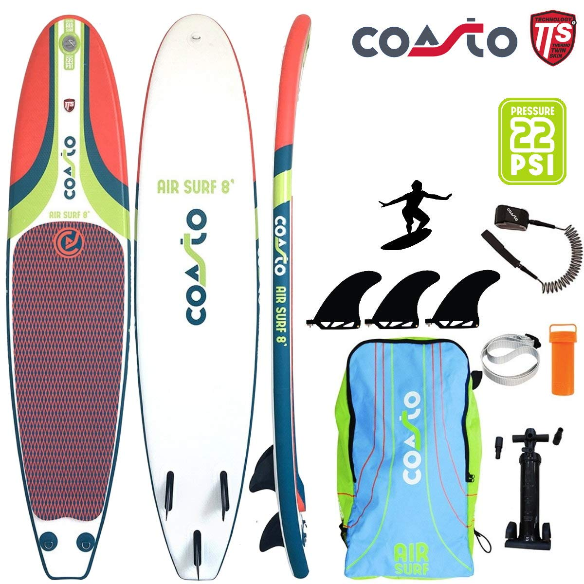 Coasto Air Surf 8 Hinchable Tabla de Surf Surf Us-Finnen ...