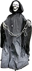 """Halloween Haunters Animated Standing Life Size Skeleton Death Reaper Prop Decoration - 5' 3"""" Feet Tall, 3 Haunting Phrases, Light Up Eyes, Chains - Battery Operated"""