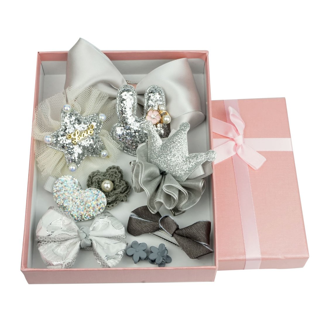 Star Picker Baby Girls 10pcs Hair Clips Bows Barrettes Accessories Gift Box Set, Silver Grey