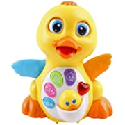 Super Interactive LED Light Up Quacking Duck Toy with Volume Control & Bump Sensors | Walking Musical Sound Toy for Toddlers and Babies | Great Baby Educational Toys | Heavy Duty & Cute Design