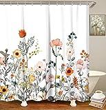 "LIVILAN Fabric Floral Shower Curtain Set with 12 Hooks Watercolor Decorative Bath Curtain Modern Bathroom Accessories, Machine Washable, 70.8"" X 83.8"""