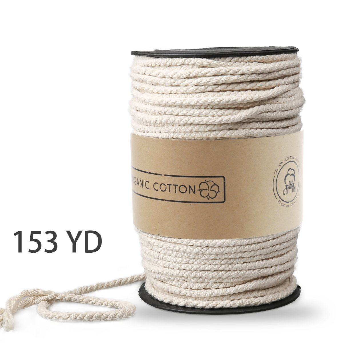 Macrame Cord, ZOUTOG 4mm x 140m (About 153 yd) Natural Cotton Soft Unstained Rope for Handmade Plant Hanger Wall Hanging Craft Making