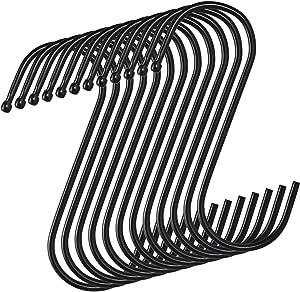 S Hooks 12 Pack S Shaped Hooks Hooks for Hanging Stainless Steel Metal Hangers Hanging Hooks for Kitchen, Mug Hooks Light Hooks Vinyl siding Hooks for Hanging,Work Shop, Bathroom, Garden