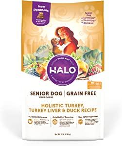 Halo Grain Free Natural Dry Dog Food - Senior Dog Recipe - Premium and Holistic Turkey, Turkey Liver & Duck Recipe - 10 Pound Bag - Sustainably Sourced Adult Dog Food - Non-GMO and Highly Digestible