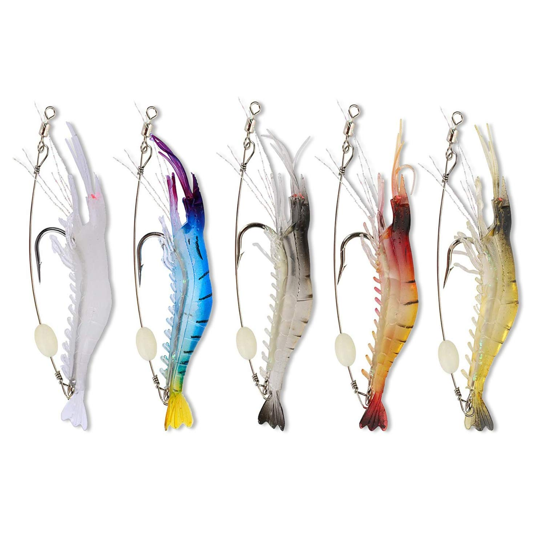 5pcs//set Artificial Soft Rigs Sea Carp Fishing Lure Luminous Shrimp Bait