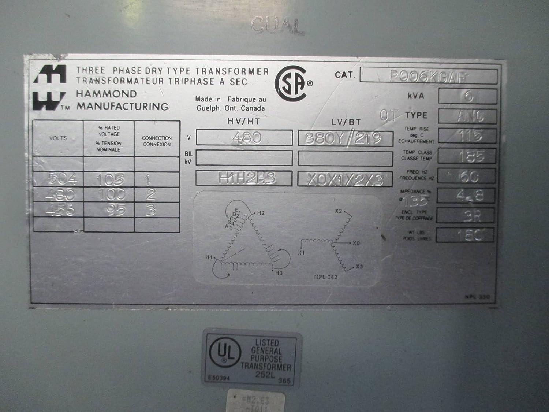 Hammond 6 kVA 480 Delta - 380Y/219 Dry Type 3PH Transformer P006KGAF on