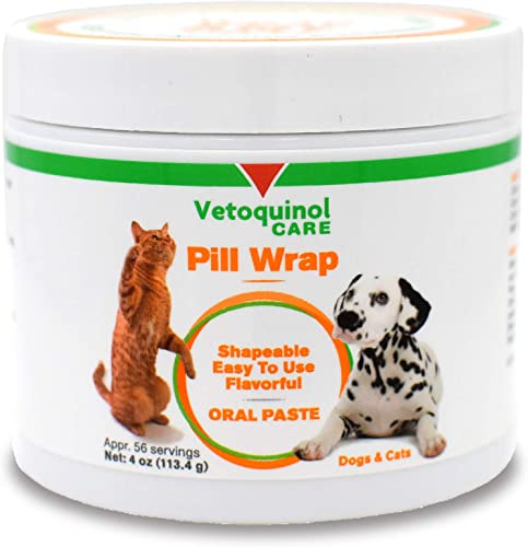 Vetoquinol Pill Wrap Treats for Dogs Cats 4oz, 56 servings Hides Any Size, Shaped Pill Moist, Flavorful Shapeable Pill Pocket Paste Easy-to-Swallow Masking Pill Pouch for Training Treats