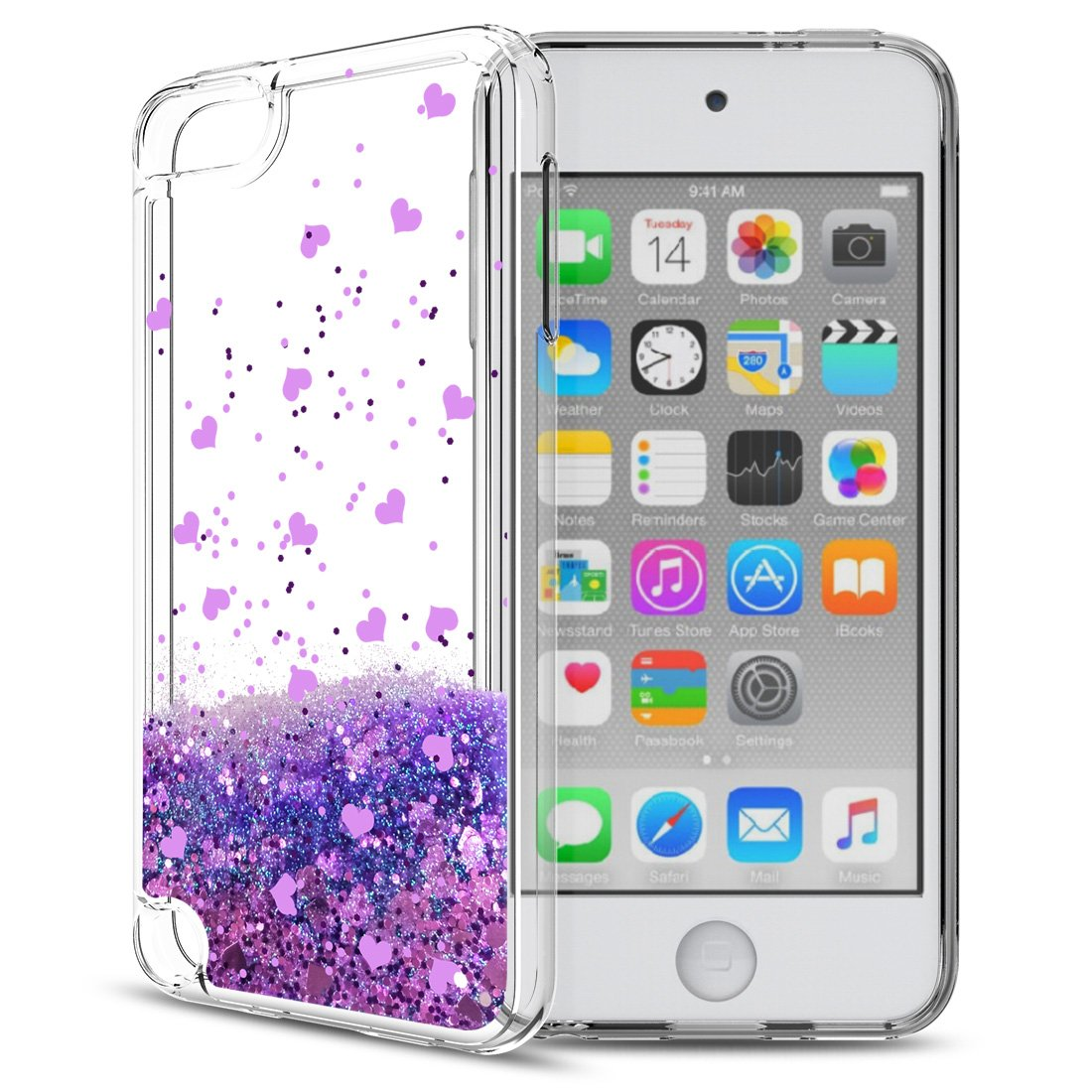 92eef5c5d1 Amazon | iPod Touch 6ケースiPod Touch 5液体ケースwith HDスクリーンプロテクターfor Girls、Aree  Shiny Glitter QuicksandクリアTpu保護電話ケースfor Apple iPod ...