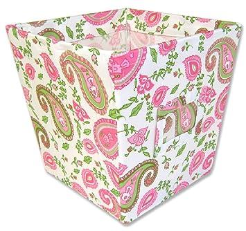 Trend Lab Fabric Storage Bin, Paisley Park Print, Medium