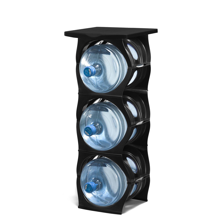 U Water Cooler Bottle Rack (3 Bottle with Shelf, Black)