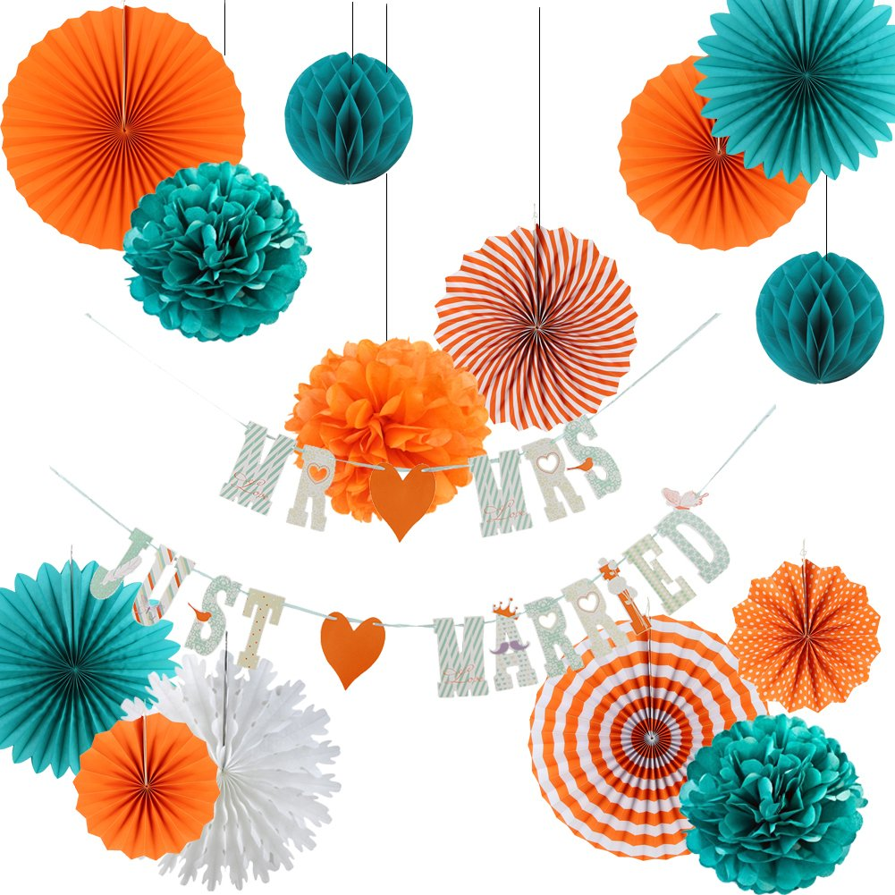 10 Piezas Pompom Paper Fan Linterna para La Fiesta de Aniversario Baby Shower Cumplea/ños Birthday Wedding Easy Joy Decoraci/ón