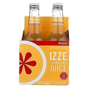 IZZE Sparkling Peach Juice 4 bottle X 12 oz (Pack of 6)