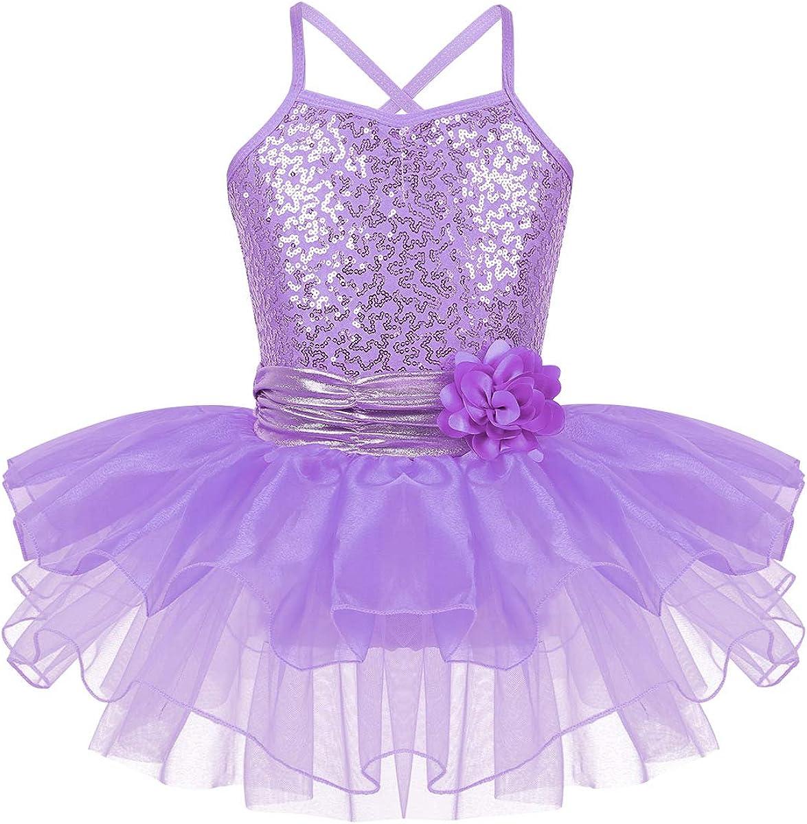 Girls Gymnastics Ballet Leotard Dress Tutu Skirt Skate Kids Dance Wear Costumes