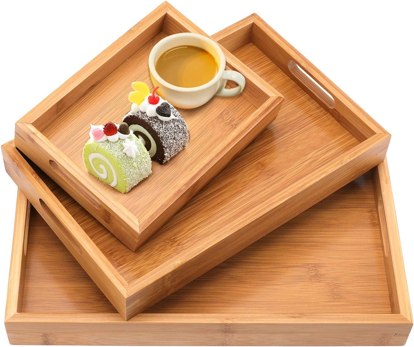 Jucoan 3 Pack Bamboo Butler Serving Tray with Handles, Rectangle Wooden Ottoman Tray, Breakfast Dinner Snack Food Trays for Kitchen Coffee Table Parties Restaurants