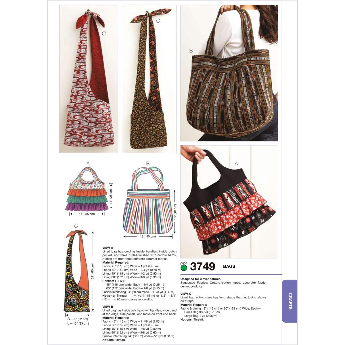 Kwik Sew K3749 Bags Sewing Pattern, No Size McCall Pattern Company K3749OSZ