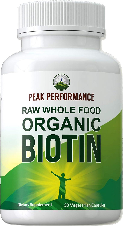Organic Biotin - Raw Whole Food Plant Based Vegan Biotin 5000mcg Capsules Supplement by Peak Performance. High Potency B7 Vitamin Pills for Hair Growth, Skin, Nails. for Men + Women 5000 mcg Vitamins