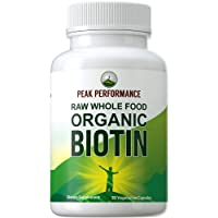 Organic Biotin - Raw Whole Food Plant Based Vegan Biotin 5000mcg Capsules Supplement...