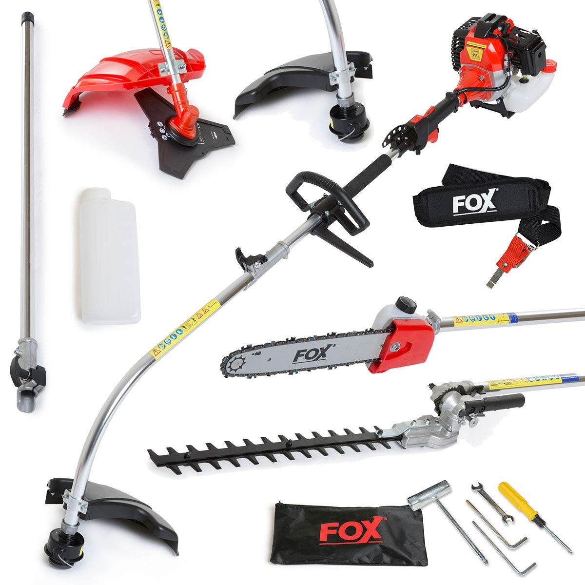 Fox Garden Commander 4 in 1 2-Stroke Heavy Duty 52cc Engine, Petrol Hedge Trimmer, Grass Trimmer, Brush Cutter, Chainsaw, Pruner, Long Reach Multi Function Gardening Tool 2 YEAR WARRANTY
