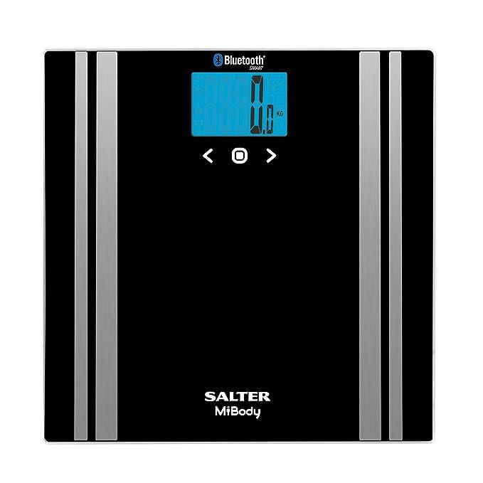 Salter - Básculas de baño con analizador digital Bluetooth, Medición de peso, Grasa corporal, Agua, Masa muscular, IMC, Conecte a su teléfono inteligente, ...