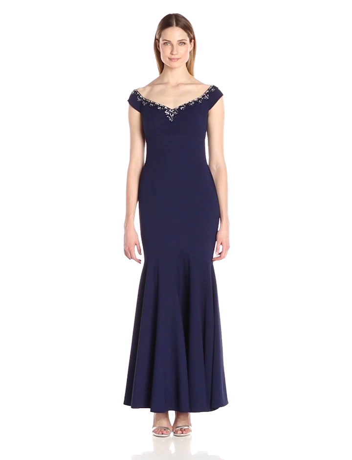 Alex Evenings Women\'s Long Empire Waist Off The Shoulder Dress at ...