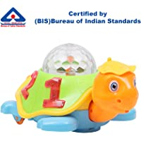 Kurtzy Turtle Toy with Sound and 3D LED Light Music for Baby Children Kids Certified by Bureau of Indian Standards