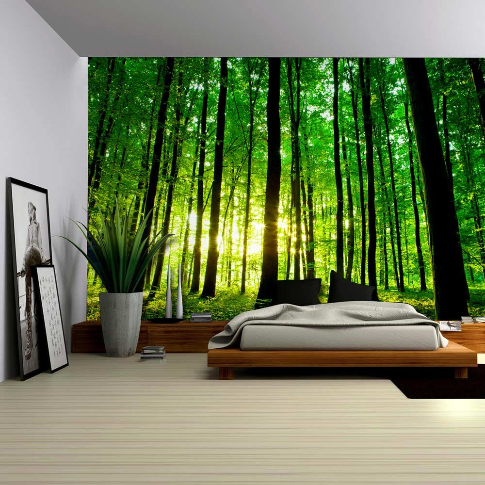 wall26 - Sun Shining Through a Tall Tree Forest - Wall Mural, Removable Sticker, Home Decor - 100x144 inches by wall26 (Image #2)