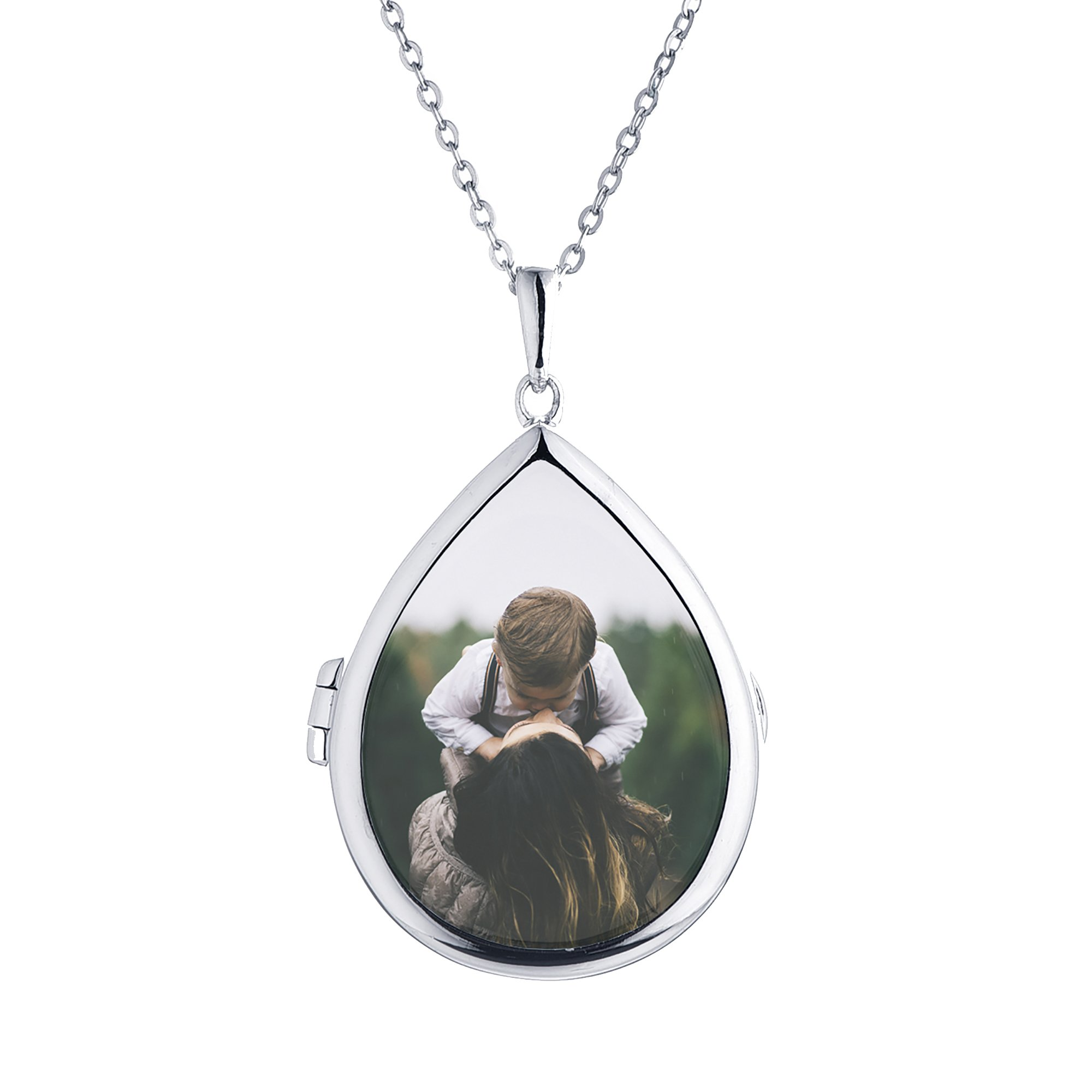 Sterling Silver-Glass-Custom Photo Locket Necklace-18-inch chain-The Sky by With You Lockets by With You Lockets (Image #1)
