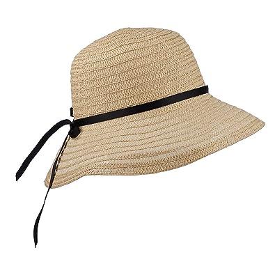 c4440e15b Lux Accessories Straw Hat Black Ribbon Bow Wide Brim Fedora Floppy Cloche  Derby Sun Hat Cap