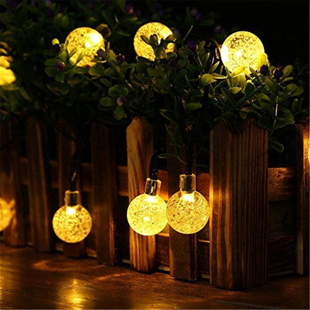 Amazon AGPtek Solar Powered LED String Lights Crystal Ball Globe Fairy For Party Holiday Birthday 30 LEDWarm White 197Foot Home Kitchen