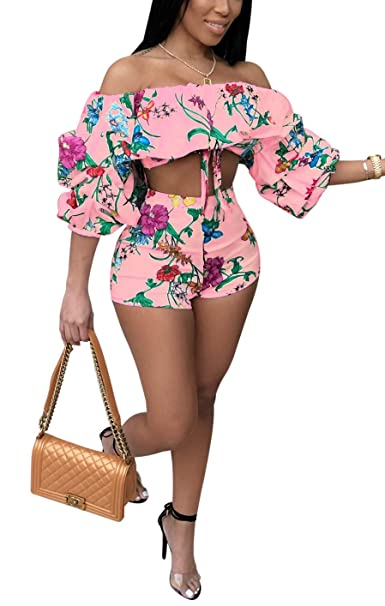 5ee881dd2c4 Amazon.com: Darceeneth Women Sexy Two Piece Romper Outfits Pull Sleeve  Floral Off Shoulder Crop Top Short Pants Set Pink L: Clothing