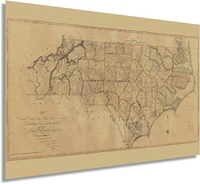 Historix Vintage 1808 North Carolina State Map - 24x36 Inch Vintage Map North Carolina Wall Art - The First Actual Survey of North Carolina Vintage Map - North Carolina Poster - NC Home Art (2 Sizes)